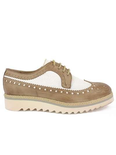 Calpierre Donna · DL125 Bicolore Lacci Scarpa Tipo Inglese Donna 8e3bb46799b