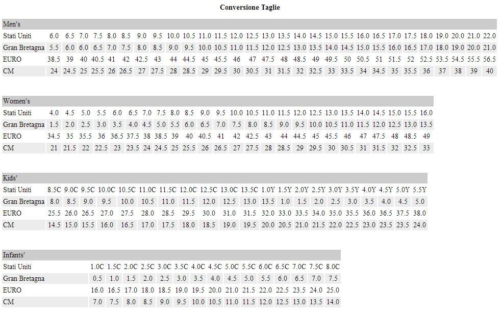 skechers tabella misure